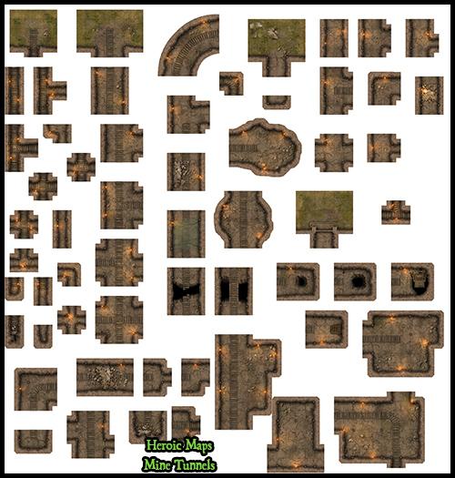 heroic maps - modular kit  mine tunnels