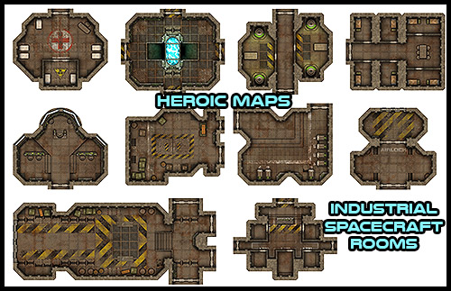 Heroic Maps Modular Kit Industrial Spacecraft Rooms
